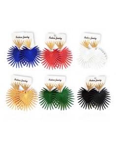 12 paires de boucles d'oreilles coeurs colorés modèle graphique