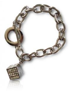 Bracelet grosse maille souple pendentif dé serti