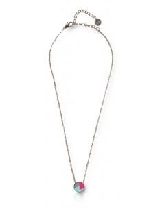 Collier pendentif acier inoxydable motif géométriques rose/bleu