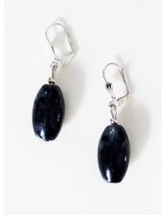Boucles d'oreilles quartz inclusion de tourmaline ovales allongées 3 cm