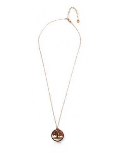 Collier pendentif acier inoxydable doré motif arbre