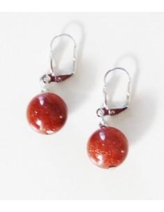 Boucles d'oreilles pierre de soleil perles boules 1.2 cm