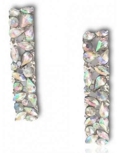 """Boucles d'oreilles rectangulaires """"mille éclats"""" de zirconiums"""