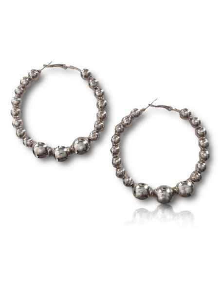 Créoles perles rondes coulissantes dégradées