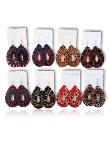 12 paires de boucles d'oreilles en bois gouttes motifs bohème