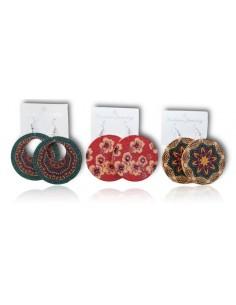 3 paires de boucles d'oreilles créoles en bois motifs fleurs mandalas