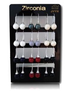 12 paires de B.O boules laquées traversantes sur présentoir