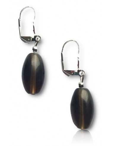 Boucles d'oreilles quartz fumé pierre tambour