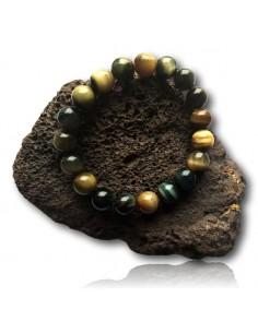Bracelet oeil de faucon pierres boules 10 mm