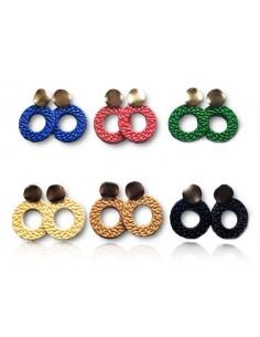 12 paires de boucles d'oreilles créoles motif tissage pvc et métal doré