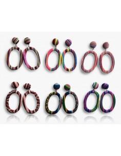 12 paires de boucles d'oreilles créoles ovales en tissu avec motifs