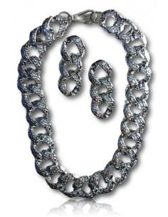 Parure collier chaine grosse maille motif croco et boucles d'oreilles