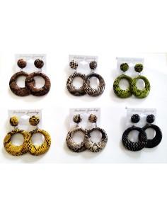 12 paires de créoles simili cuir motif croco