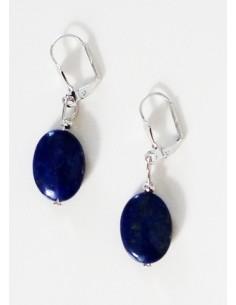 Boucles d'oreilles ovales lapis-lazuli pierre naturelle 2 cm