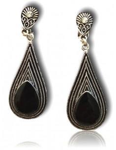 Boucles d'oreilles vintage gouttes pierre noire métal vieilli