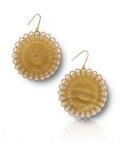 Boucles d'oreilles rondes acier 316L mandalas fleur filigrane