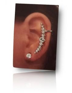 Bijoux d'oreilles ligne de strass symétrique