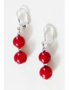 Boucles d'oreilles perles corail rouge reconstitué 3 cm