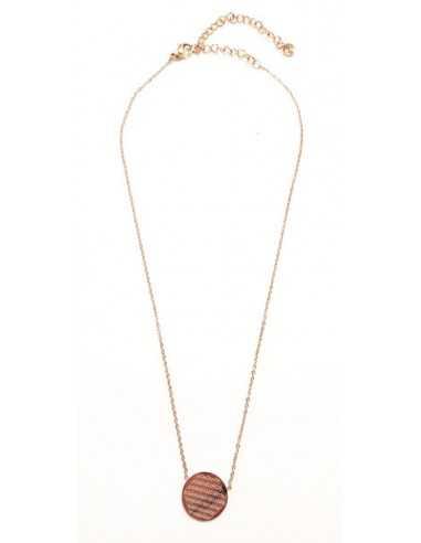 Collier pendentif acier inoxydable doré motif fleur de vie