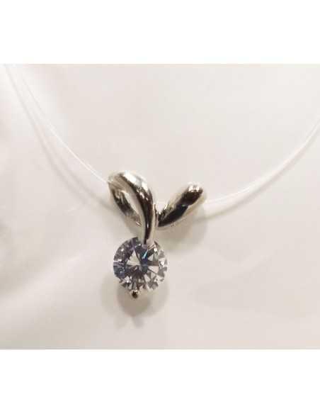 12 Colliers pendentifs vague zirconium sur fil transparent acier inoxydable