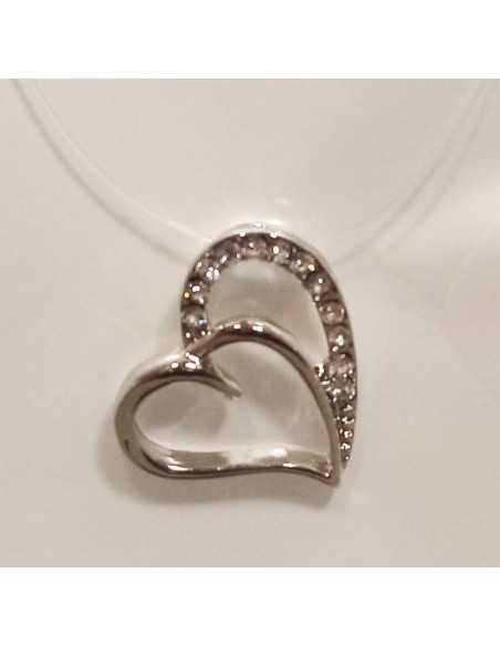 12 Colliers pendentifs coeur zirconium sur fil transparent acier inoxydable
