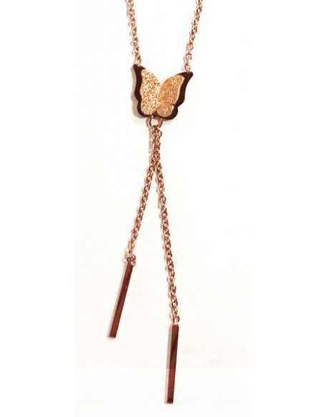 Collier acier inoxydable doré pendentif papillon et pendants