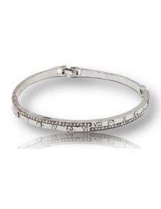 Bracelet jonc acier inoxydable motif romains décoré de strass