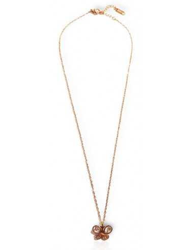 Collier acier inoxydable doré pendentif papillon et zirconiums