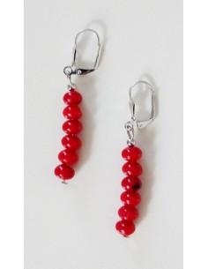 Boucles d'oreilles pendantes perles corail rouge reconstitué 3 cm