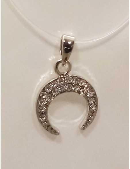 12 colliers pendentifs lune sertie sur fil transparent acier inoxydable