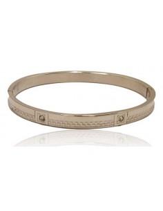 Bracelet acier inoxydable avec motifs et zircons cubiques