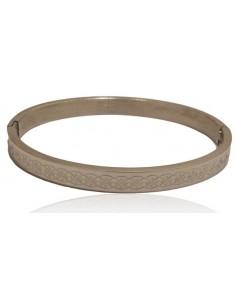 Bracelet jonc acier avec motif tresse