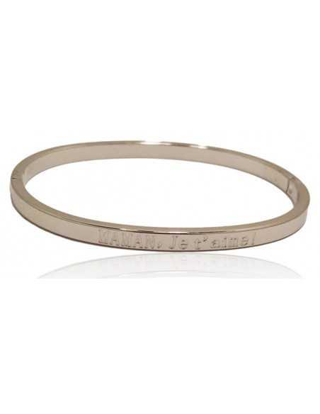 """Bracelet acier inscription """"Maman je t'aime"""""""