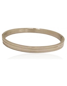Bracelet jonc acier avec lignes graphiques
