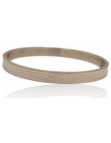 Bracelet jonc acier avec motifs ethniques géométriques