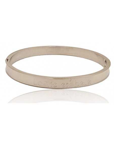 """Bracelet jonc acier avec message """" La vie est belle """""""