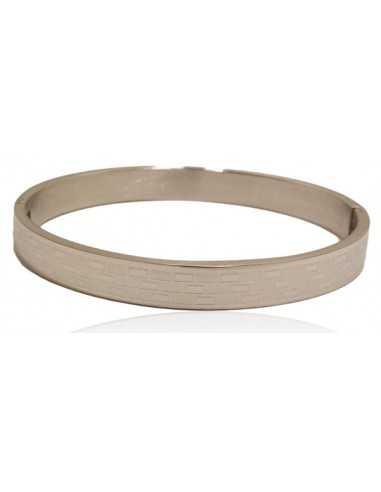 Bracelet jonc acier inoxydable motifs géométriques contrastés.