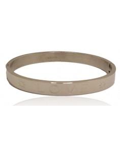 """Bracelet jonc acier inoxydable inscription """" love"""" avec motif soleil"""