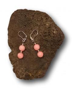 Boucles d'oreilles pendantes pierres fantaisie roses