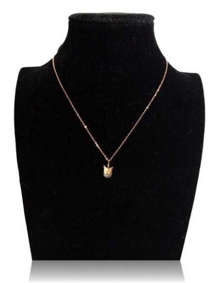 Collier acier inoxydable 316L doré pendentif papillon sur zirconium