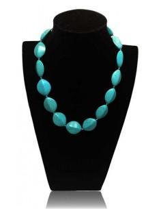 Collier turquoise pierres de synthèse ovales facettées