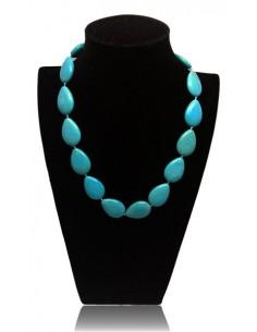 Collier turquoise pierres de synthèse gouttes