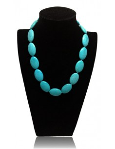 Collier turquoise pierres de synthèse ovales
