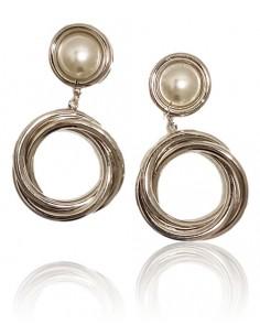 Boucles d'oreilles pendantes anneaux sur perle