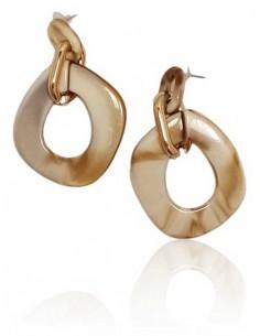 Boucles d'oreilles anneaux doré et pvc effet beige irisé