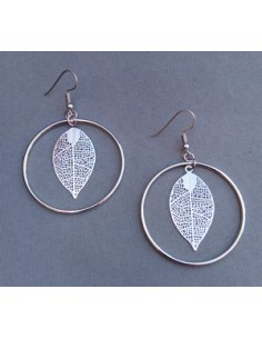 Boucles d'oreilles créoles feuilles pendantes filigranes 4 cm