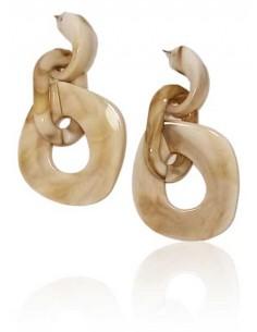 Boucles d'oreilles anneaux pvc effet beige irisé