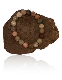 Bracelet agate indienne haute qualité pierres boules 10 mm