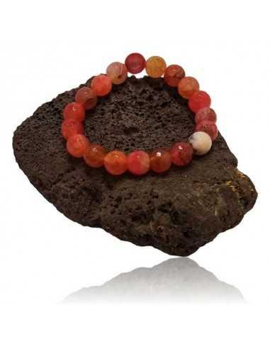 Bracelet quartz rose cerise pierres boules facettées 10 mm