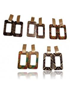 12 paires de boucles d'oreilles bois motifs ethniques